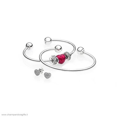 Pandora Vendita Online Be Mine Stacked Open Bangle Regalo